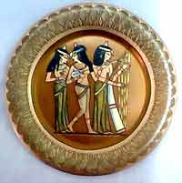 "Musicians Girls "" Egyptian  Brass Plate - home decor """