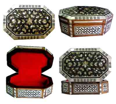 Egyptian Mother of pearl Jewelry Box - Octagon Shape - Model MP1