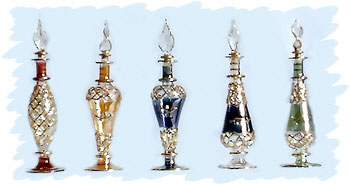 Egyptian Perfume Bottles - Set of 5 colored Bottles
