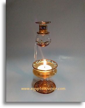 Egyptian hand-made pyrex glass oil diffuser, oil burner