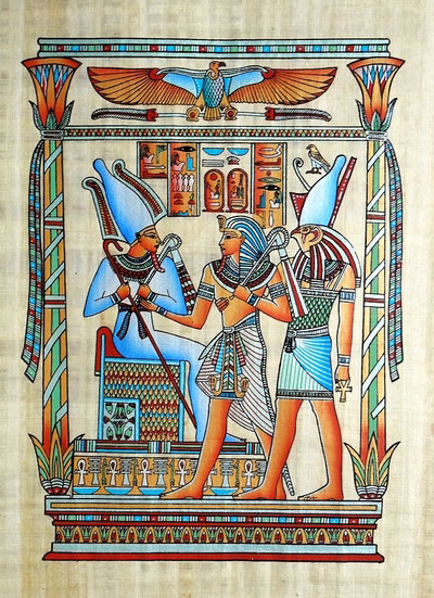 Egyptian Papyrus Painting The Tribute 1