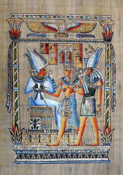 Egyptian Papyrus Painting The Tribute