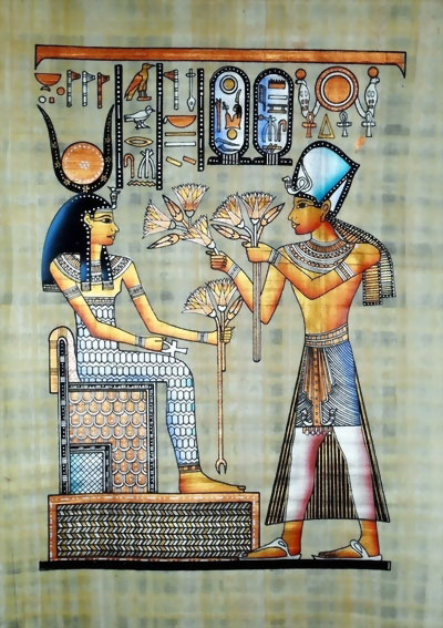 Ramses II Gifts to Goddess Isis, Lotus Flowers Papyrus Painting