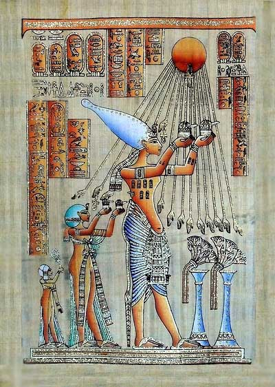Akhenaten Sacrifices to God Aten (Sun disk) Papyrus Painting