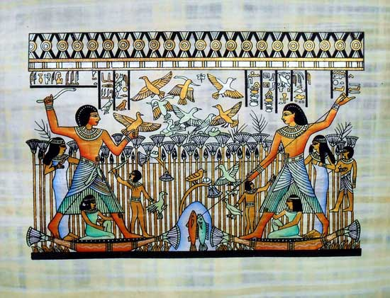 Fishing & Birds Catch, Egyptian Papyrus Painting