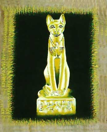 Bastet goddess, egyptian cat - Free Hand Papyrus Painting - dark papyrus