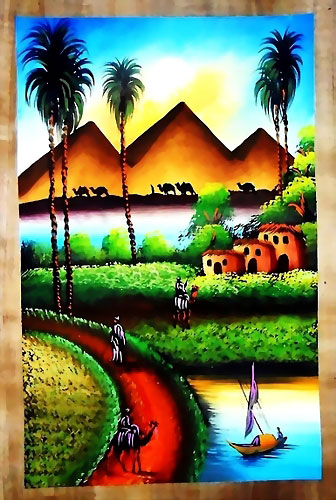 Egyptian papyrus paintings, free hand papyrus Paintings tableau, dark papyrus - 4