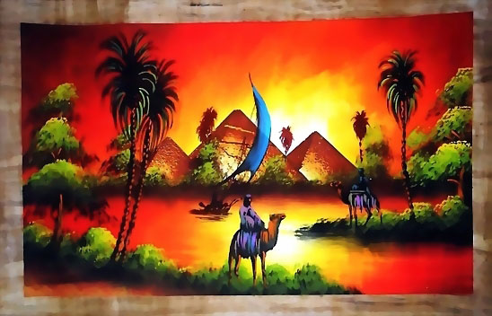 Egyptian papyrus paintings, free hand papyrus Paintings tableau, dark papyrus - 5