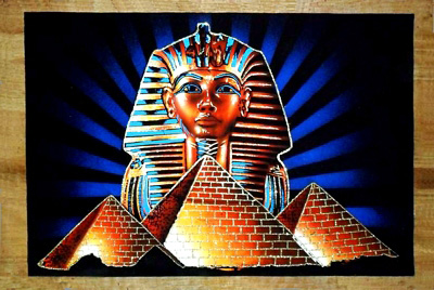 Egyptian papyrus paintings - free hand papyrus - Papyrus painting tableau