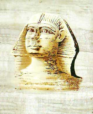 Sphinx statue papyrus, free hand painting, dark papyrus