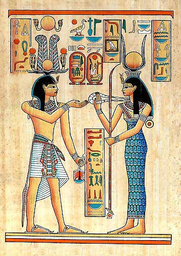 Egypt papyrus painting - Hathor Goddess.  Goddess of Love , Joy and Music