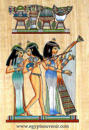 Musicians girls papyrus painting egyptian musicians for Egyptian fresco mural painting
