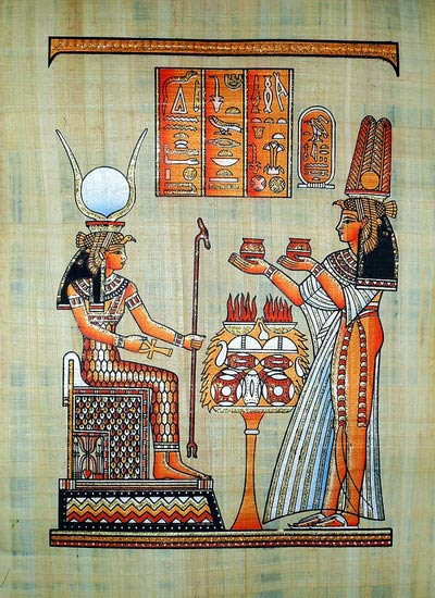 Queen Nefertari Gifts to Goddess Isis - Papyrus Painting