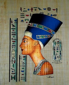 Queen Nefertiti Papyrus Painting