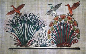 Flying Ducks Papyrus Painting