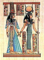 Isis & Nefertari Papyrus - Egyptian hand made papyrus paintings