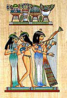 Musicians Girls Papyrus Painting - Egyptian hand made papyrus paintings