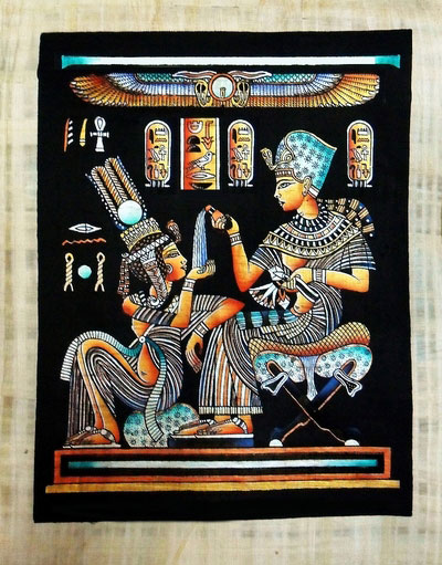 King Tut Ankh Amun pouring perfume into his wife palm Papyrus Painting -  Light Papyrus - Black Background
