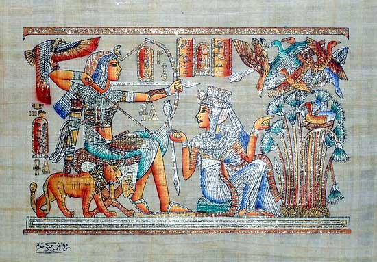 King Tut Ankh Amun hunting - Papyrus Painting - (Glitters - Spangles)