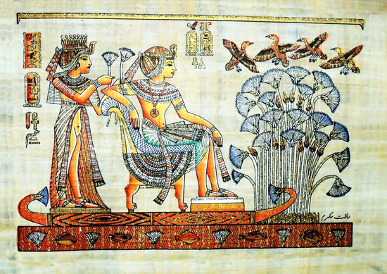 King Tut Ankh Amun & his wife on Nile River Boat  Papyrus Painting