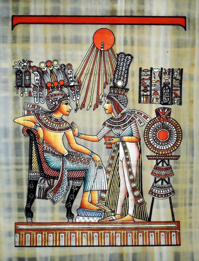 King Tut Ankh Amun's Wife Perfumed Touch Papyrus Painting