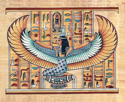 Winged Goddess Isis  papyrus