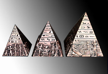 Egypt 3 Pyramids - Brass - Egyptian Embossed Scenes