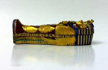 Colored Stone, King Tut Ankh Amun Coffin With Mummy inside