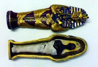 "King "" tut ankh amen "" colored stone coffin 4 - Egyptian gifts, souvenirs"
